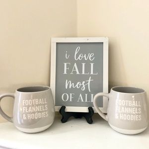 Other - Fall Home Décor with Matching Gray Coffee Mugs